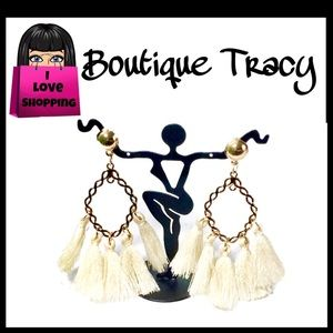 Jewelry - NEW Boho Cream Fringe Tassel Chain Marquise Drop